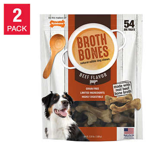 Nylabone Broth Bones Natural Edible Dog Chews 54-count, 2-pack (1488388)