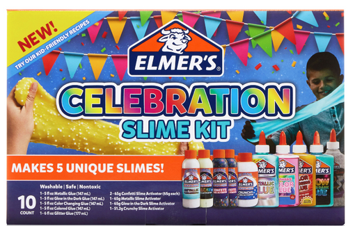 Elmer's Celebration Slime Kit: Supplies Include Assorted Liquid Glues & Assorted Magical Liquid Activators, Gift for Kids,10 Count (026000188395)