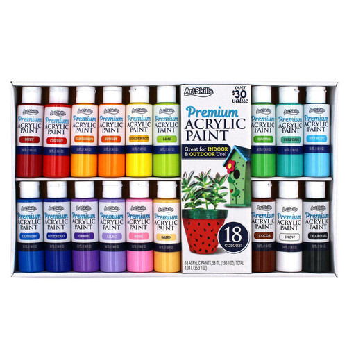 Premium Acrylic Paints By ArtSkills Creative Expressions 18 Pack (PA-6817 )