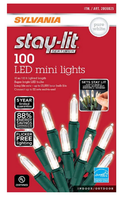 Sylvania Stay-lit 100 Mini Pure White LED Lights (1451252)