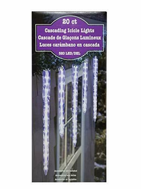 Cascading 520 LED Icicle Lights 20 Ct (689720378271)