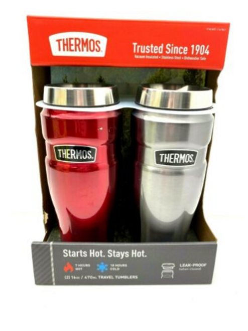 THERMOS 16oz Stainless Steel Vacuum Insulated Travel Tumblers (041205746621)