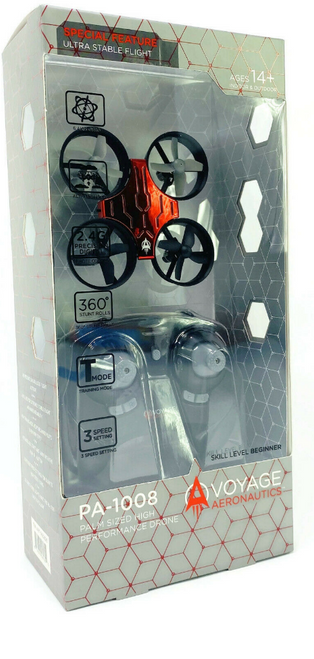 Voyage Aeronautics Micro Drone PA1008 w/Remote Red Palm Sized High Performance (PA1008)