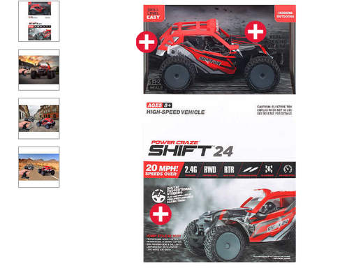 Power Craze Shift 24 Mini RC, High Speed Buggy - Red/Blue (1473282)