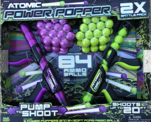 Atomic Power Popper Battle Pack with 84 Balls & 2 Power Poppers Hot Wild