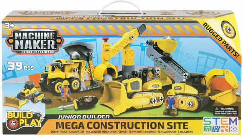 Machine Maker Construction Set Junior Builders Mega City Service Team 39 Piece Set (194029490055)