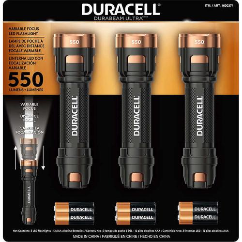 Duracell Durabeam Ultra LED Flashlight, 550 Lumens, 3-count (TF072A00)