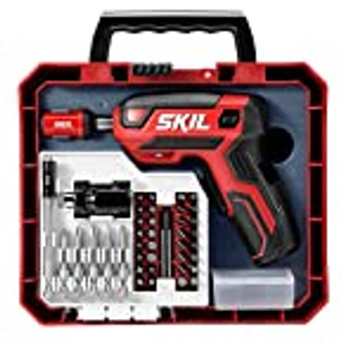 SKIL Rechargeable 4V Cordless Pistol Screwdriver with 42pcs Bit Set and Carrying Case ( SD5618-03)