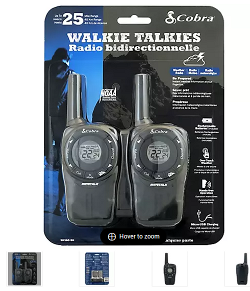 Cobra Two-Way Walkie Talkies (SH360BK))