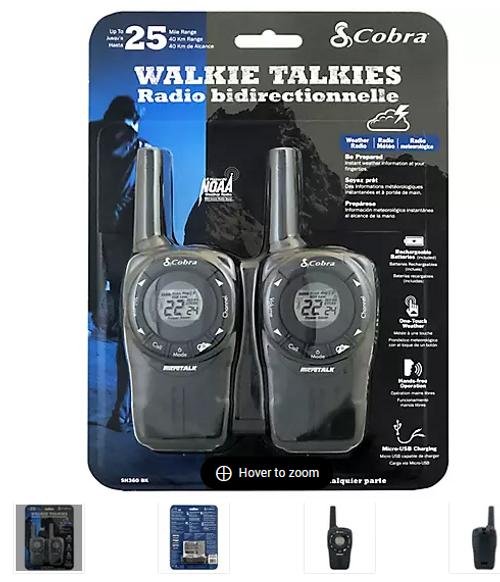 Cobra Two-Way Walkie Talkies (SH360BK))