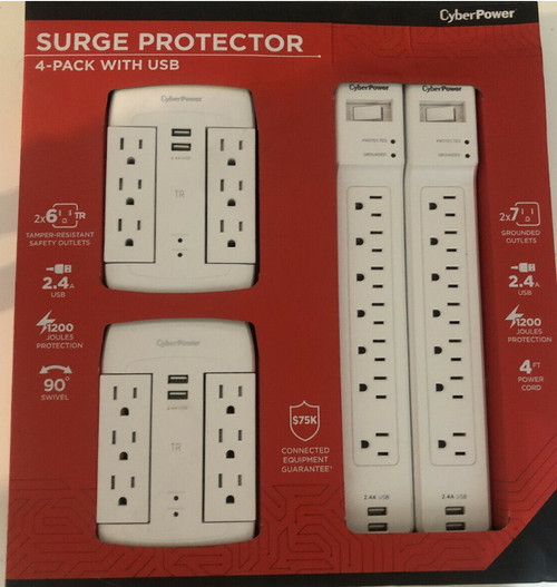 CYBERPOWER SURGE PROTECTOR 4 PACK WITH USB (649532930906)