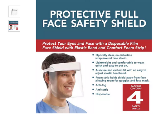 Protective Face Shield (4 pk.) (721301048170)
