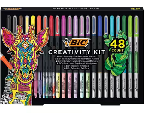 BIC Creativity Kit, Assorted Markers, Pens, Highlighters, Various Colors, 48ct (WC7MC725-C-AST)