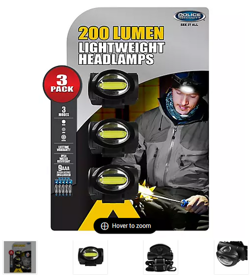 Police Security 200-Lumen Connector Headlamps, 3 pk. ( 98704 )