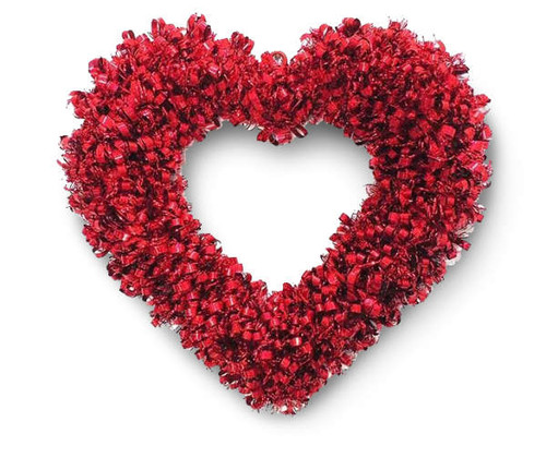 "Red Looped 16"" Tinsel Heart Wreath (bl16)"
