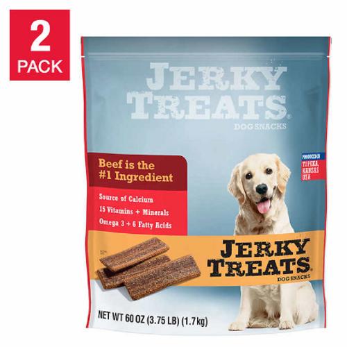 Jerky Treats American Beef Dog Snacks 60 oz, 2-count ( 1426778)