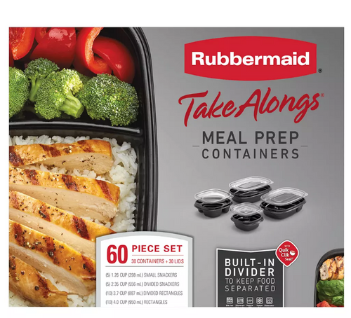 Rubbermaid 60-Pc. TakeAlongs Meal Prep Containers Set ( 2127707 )