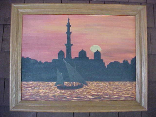 Boat and Sunset Scene Picture Wall Decor (41/Lpik )