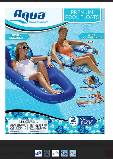 Aqua Inflatable Recliner Lounge & Inflatable 3-In-1 Lounge, 2 pk. ( AQL18954BJ )