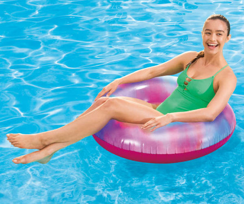 Pink Tie-Dye Tube Inflatable Pool Floats, 2-Pack (bl pink)