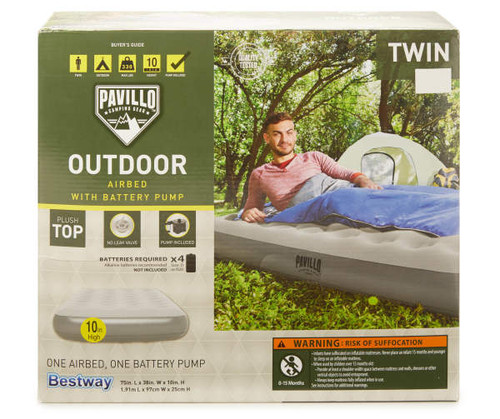 """Best Way Pavillo Camping Gear 10"""" Twin Outdoor Airbed (BW/BL Air bed)"""