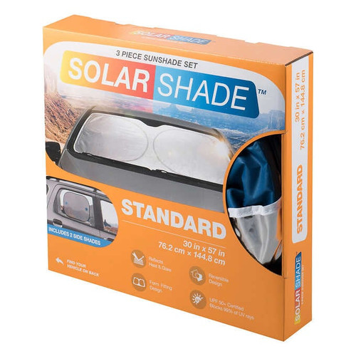 TYPE S Windshield Silver Foil Sunshade 3-piece Kit 2-pack (1292781)
