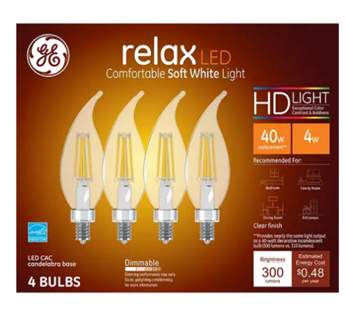 GE 40W Replacement LED Decorative Candelabra (4-pack) (45640)