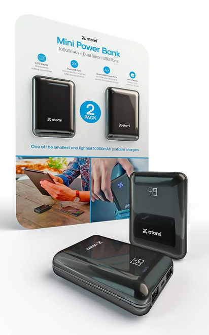 Atomi 10,000mAh Mini Power Bank with Dual Smart USB Ports (AT1493)