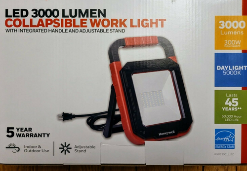 Honeywell LED 3000 Lumen Collapsible Work Light w/ Integrated Handle & Stand (884617742696)