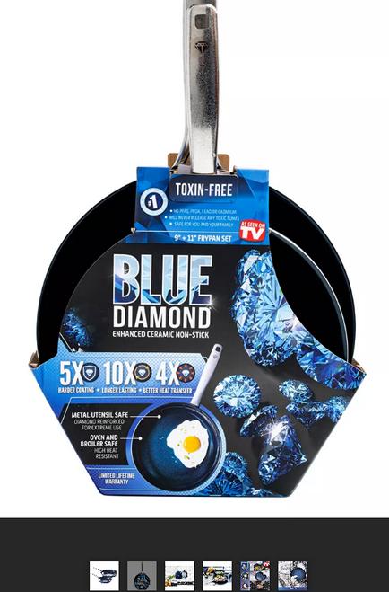 """IBlue Diamond 9.5"""" and 11"""" Non-Stick Frypan Set"""