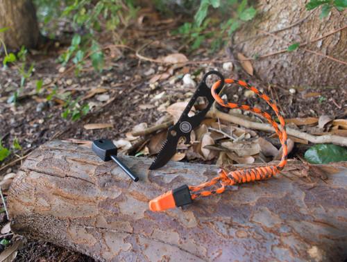 "UST Ultimate Survival ParaKnife PRO 2.0 Multi-Tool Knife Fixed 1.5"" Black Sawback Blade, Fire Starter, Whistle, Black Nylon Sheath"