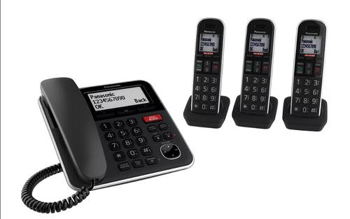 Panasonic DECT 6.0 4-Handset Cord/Cordless Phone with Call Block (KX-TG2153SK)
