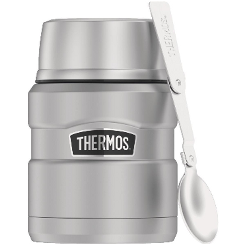 Thermos Stainless King 16 Oz. Silver Stainless Steel Food Jar With Spoon (SK3000MSTRI4)