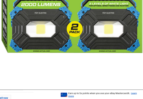 FEIT Electric, 2 Pk - LED Rechargeable 2000 Lumen Portable Utility Work Light (017801726480)