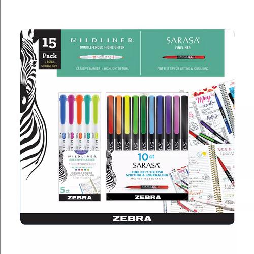 Zebra Mildliner Double-Ended Creative Marker and Sarasa Fineliner Pen, Fine Point, 15 ct. (266260 )