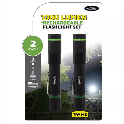 Police Security Flashlights 1,000-Lumen LED Rechargeable Flashlight, 2 pk. ( 98817)
