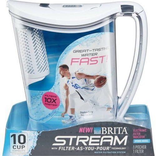 Brita 10-Cup Stream Filter as You Pour Water Pitcher with 1 Filter (54736202)
