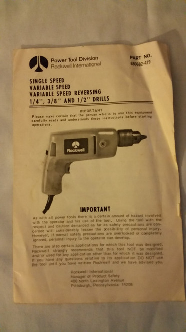 Rockwell International Drill Owner Manual #680682-479
