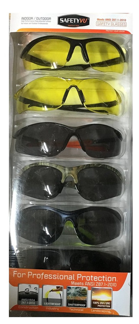 SafteyVu Indoor/Outdoor Safety Glasses High Mass & High Velocity Impact Protection pack of 6 ( 823213) (