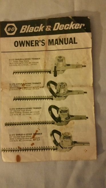 Black Decker Electric Hedge Trimmer Owner Manual