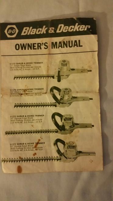 Black Decker Electric Hedge Trimmer Owner Manual