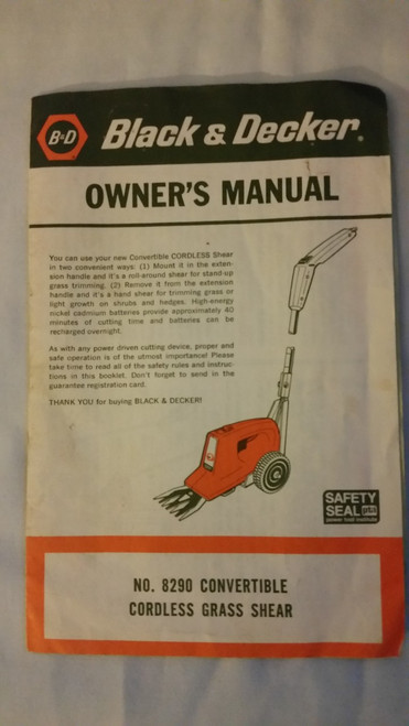 Black & Decker Owner Manual 8290 Grass Shears Convertible Cordless Grass Shears Manual (8290)