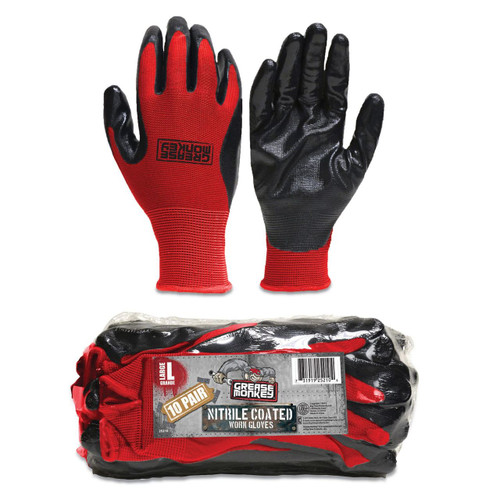 Grease Monkey Large Nitrile Coated Work Gloves 12 Pack (25212)