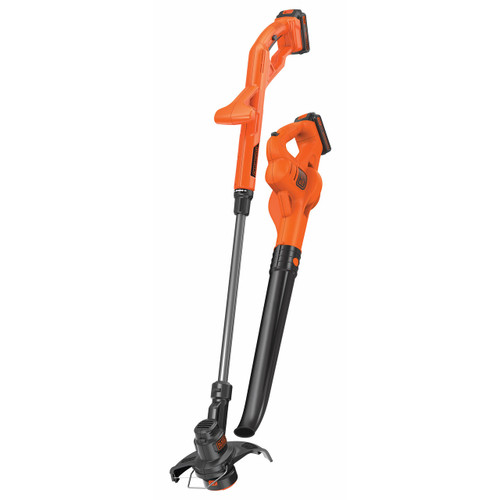 Black & Decker 20V Cordless String Trimmer and Sweeper with 2 Batteries (LCC222)