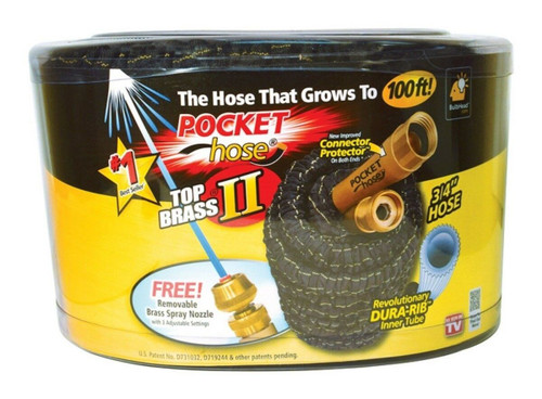 Pocket Hose 100 ft. Pocket Hose Top Brass As Seen on TV ( 097298028540)