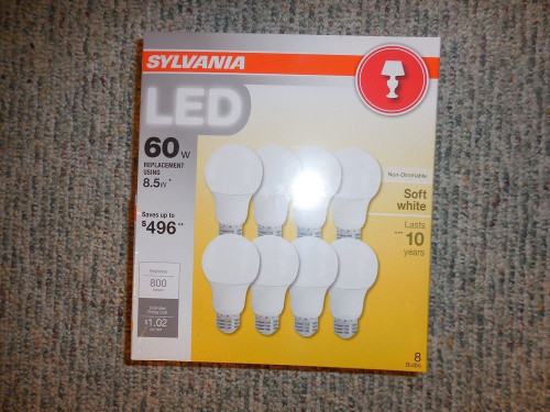 SYLVANIA ,LED 8.5 Watt, (60 watt Equivalent) A19 Med. Base, Soft White, 8 pack (73952 )