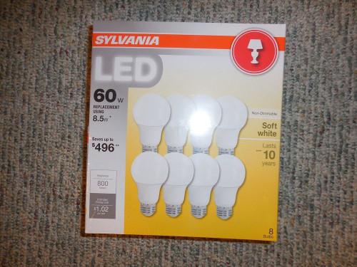 SYLVANIA ,LED 8.5 Watt, (60 watt Equivalent) A19 Med. Base, Soft White, 8 pack (73952 )