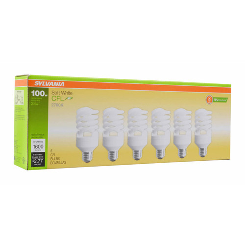Sylvania 100W Replacement Compact Fluorescent Light Bulb, 6 pk.