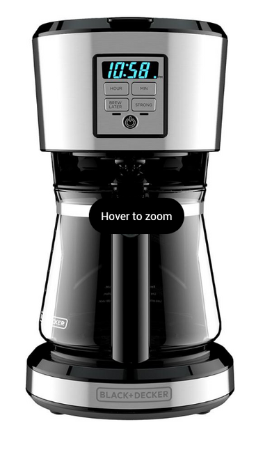 Black & Decker 12 Cup Stainless Coffee Maker with Vortex Technology