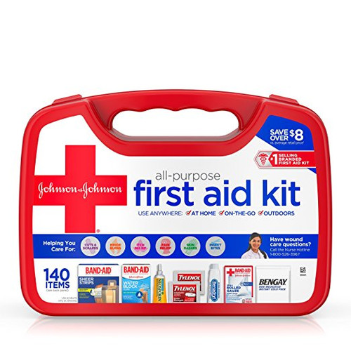 Johnson & Johnson Red Cross All Purpose First Aid Kit For Minor Cuts, Scrapes And Sprains, 140 Pieces (72108)
